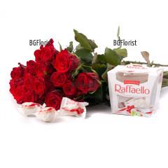 Поръчка на букет от червени рози и бонбони Рафаело