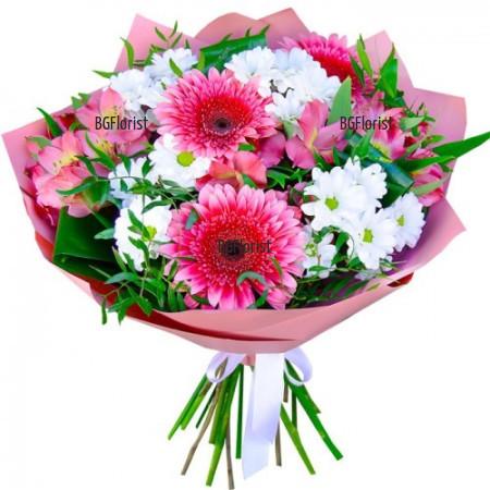 Поръчка на букет от бели и розови цветя