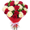 Send flowers - a bouquet of 35 white and red roses.
