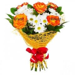 Поръчка на цветя онлайн - рози и хризантеми