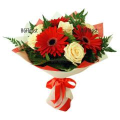 Букет от гербери и рози Мелодия