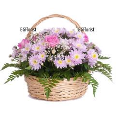 Доставка на кошница с рози и хризантеми до адрес