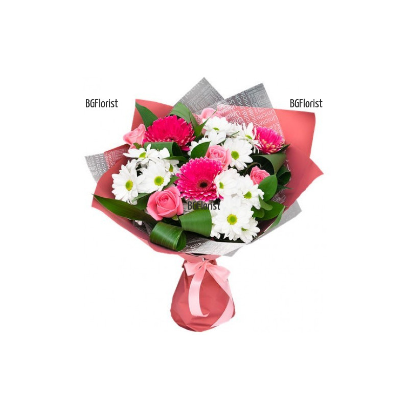 Доставка на букет от цветя в нежни тонове
